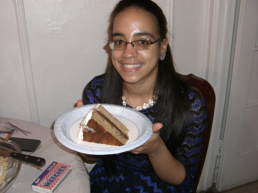 Me and a piece of my delicious Smore birthday cake