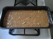 Batter inside my giant loaf pan