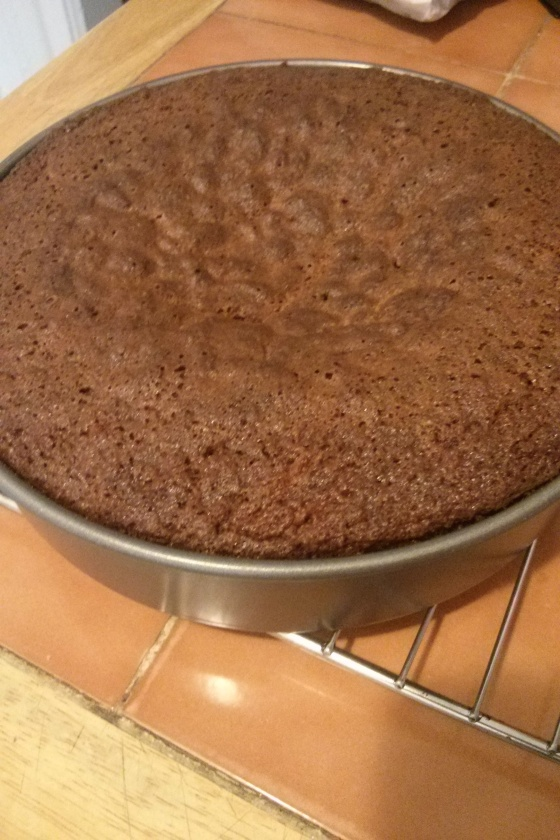 Cooling cake; obviously overfilled and overdone