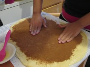 Cinnamon sugar mix; patted onto the dough