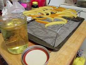 Drying peels and syrup in a jar
