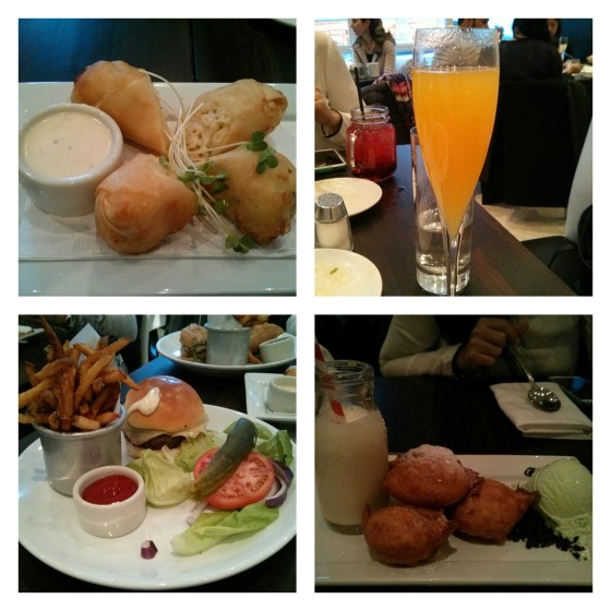 From L to R: mac and cheese spring rolls, liquid passion cocktail, cheeseburger with fries, and deep fried Oreos